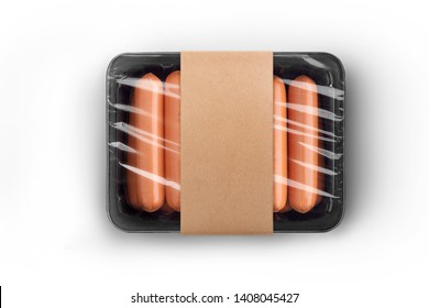Sealable black plastic tray of fresh raw sausages with crafted paper label isolated on white top-view. Packaging template mockup collection. With clipping Path included.
