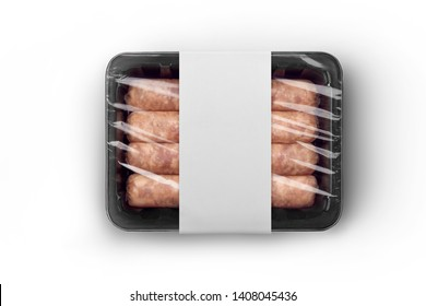 Sealable black plastic tray of fresh raw sausages with white paper label isolated on white top-view. Packaging template mockup collection. With clipping Path included.