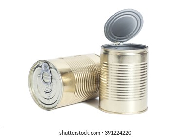 sealed metal cans isolated on white background