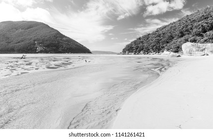 Sealers Cove beach in Wilsons Promontory National Park, Victoria, Australia in black and white