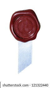 Sealing wax with a blue ribbon. Isolation on a whiteness