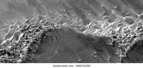 seals fleeing the massacre, allegory, abstract naturalism, Black and white photo, abstract photography of the deserts of Africa from the air, aerial view, contemporary photographic art,