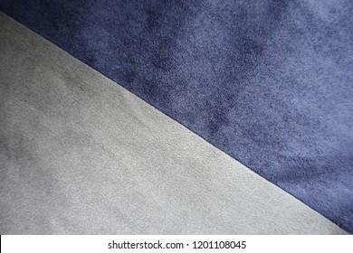 Seam between blue and grey artificial suede (diagonal)
