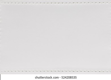 Seam And White Leather Texture Background. Blank Material Made From Animal  Skin For Furniture.