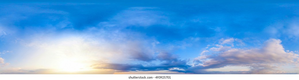 Seamless 360 degree spherical panorama of sky. Beautiful evening sky spherical panorama 360x180 for your ground and aerial panoramas. Panorama sky and cloud. Panoramic composition in high resolution