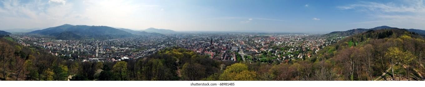 Seamless 360 Panorama of Freiburg im Breisgau, Germany in Spring