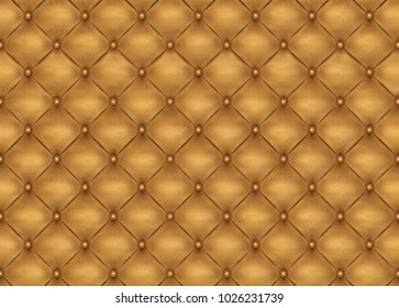 Seamless 3D pattern of golden upholstery leather furniture. Digital texture.