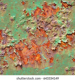 Seamless abstract background. Multicolored background: rusty metal surface with green paint flaking and cracking texture.Closeup of rusty metal texture. Old rusty metal plate heavily aged and corroded