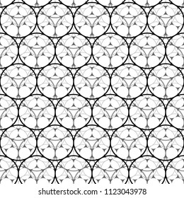 Seamless Abstract Black and White Geometric Pattern with Circles. Optical Cellular Psychedelic Illusion. Wicker Structural Texture. Raster Illustration