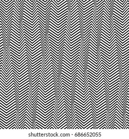 Seamless Abstract Black and White Geometric Pattern with Stripes. Optical Psychedelic Illusion. Wicker Structural Texture. Raster Illustration