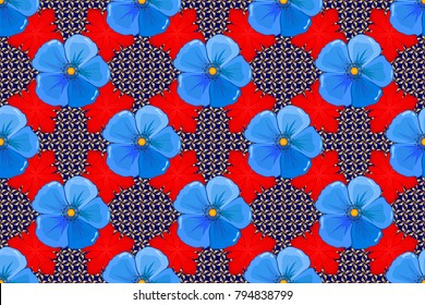 Seamless abstract floral pattern in yellow, blue and red colors. Cute raster background. Seamless pattern with cosmos flowers. Geometric leaf ornament. Graphic modern pattern.