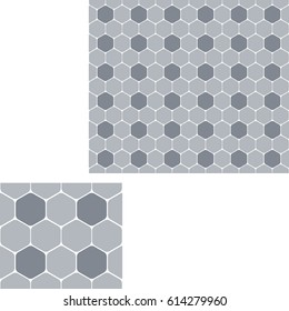 Seamless abstract geometric pattern of gray hexagons.