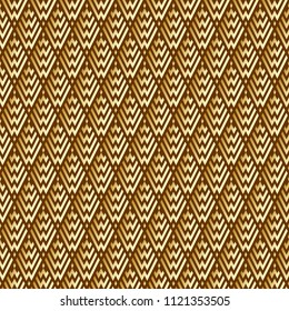 Seamless Abstract Golden Geometric Pattern with Stripes. Optical Rhombic Psychedelic Illusion. Wicker Structural Texture. Raster Illustration