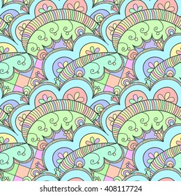 Seamless abstract hand drawn pattern for greeting card, wrapping, textile, background. Raster illustration