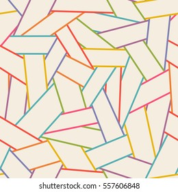 Seamless abstract linear pattern. Color illustration with hand drawn graphic. Background for print, web