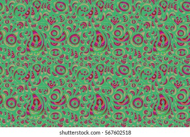 Seamless abstract multicolored tribal pattern on green background. Hand drawn ethnic texture, flight of imagination. Raster illustration.