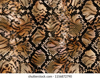 Seamless abstract  pattern leopard skin texture, snake.