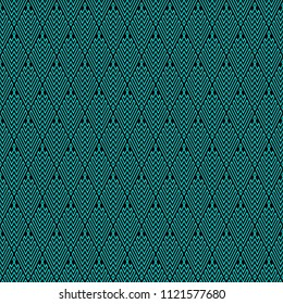Seamless Abstract Turquoise Geometric Pattern with Stripes. Optical Rhombic Psychedelic Illusion. Wicker Structural Texture. Raster Illustration