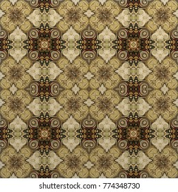 seamless abstract vintage background colored mosaic symmetrical pattern on textured canvas colorful flower decor Design for tapestry, wallpaper,