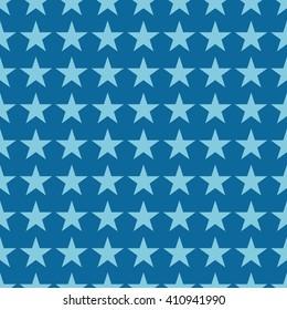 Seamless azure blue fashion stars pattern