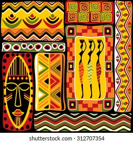 seamless background with African design elements
