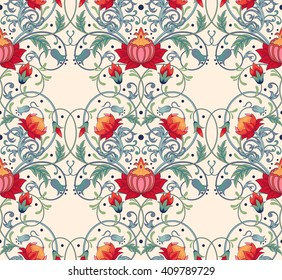 Seamless background. Beautiful fantastic floral pattern.