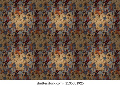 Seamless background in beige and gray roses. Raster seamless background with colored spots.