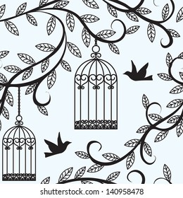 Seamless background with branch of tree silhouette, birds flying and cage