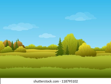 Seamless background, cartoon autumn landscape: forest and sky
