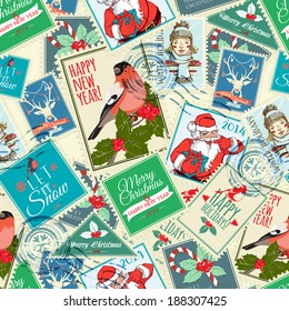 Seamless background of Christmas postal stamps