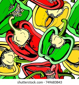 Seamless background with colorful sweet pepper on white background. Modern illustration. Can be used for wallpaper, pattern fills, web page, surface textures, textile print, wrapping paper.