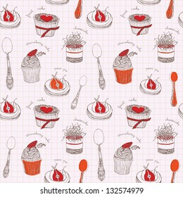 Seamless background with cupcakes.