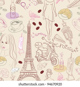 Seamless background with different Paris doodle elements, illustration
