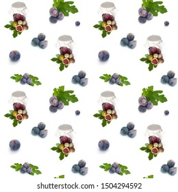 Seamless background with figs fruits, jam and leaves