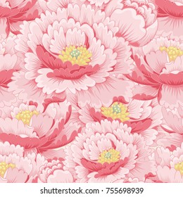 Seamless background with flowers peony.  Illustration in style traditional Chinese ink painting