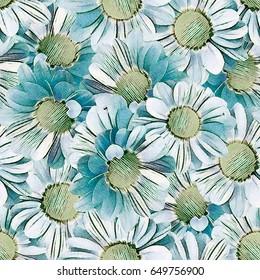 Seamless background. Flowers. Stylization: watercolor.