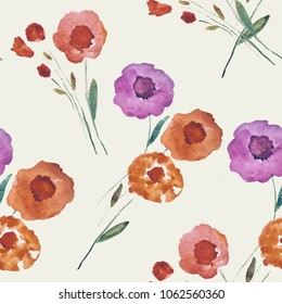 Seamless background. Flowers. Watercolor.