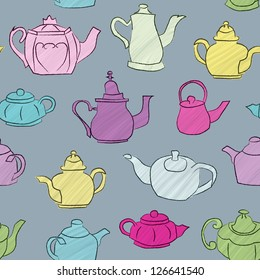 Seamless background with hand drawn teapots. Raster Version.