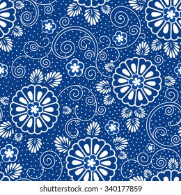 seamless background with japanese blue floral pattern