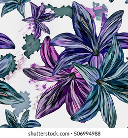 Seamless background. Lilies. Flowers. Stylization: watercolor.