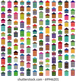 Seamless background made of multicolor simple houses. Vector version available.