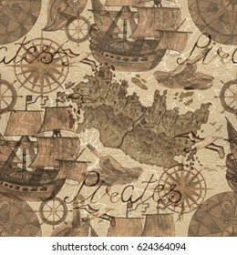 Seamless background with old ships and pirate map elements in sepia tone. Old transportation concept, vintage illustration with watercolor elements. Graphic doodle drawings