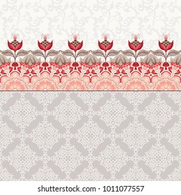Seamless background with oriental floral border. Fantastic flowers and leaves. Simple delicate ornament. Tree of Life collection.