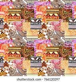 Seamless background with patchwork eastern ornament - mix of decorative designs. Watercolor folk