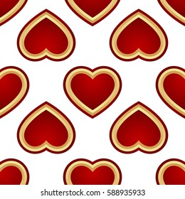 Seamless Background of red and gold hearts isolated on white background.  illustration