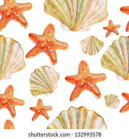 Seamless background with shells and starfish. watercolor
