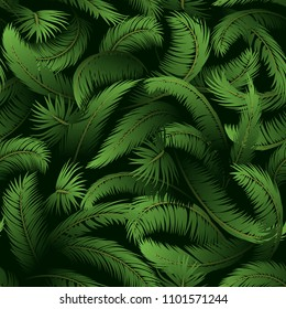 Seamless Background, Tropical Palm Trees Branches with Green Leaves, Tile Pattern.