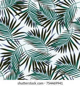 Seamless background. Tropics. Exotic plants. Watercolor.