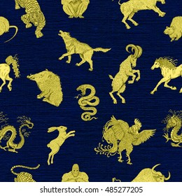 Seamless background with twelve chinese zodiac animals.  Vintage holiday pattern with new year calendar and horoscope engraved symbols.  Graphic doodle illustration, mystic and esoteric concept