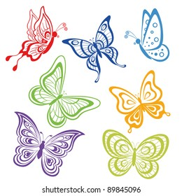 Seamless background, various symbolical butterflies, coloured contours on a white background